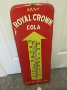 Vintage Advertising Royal Crown Cola Soda Cola Tin Thermometer Store  A-611