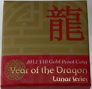 2012 Gold 10 Dollar Proof Coin Lunar - Year Of The Dragon