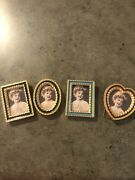 4 Miniature Frames Glass Enamel On Copper Made In England