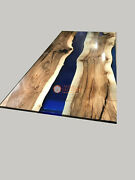 Blue Resin Acacia Wooden Restaurant Luxury Dining Table Top Design Patio Decors