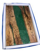 Green Resin Wooden Acacia Table Dining,living Room Epoxy Furniture Made To Order