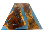 Blue Epoxy Resin River Side Center Dining Table Top Furniture Deco Made To Order
