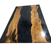 Furniture Resin River Black Garden,resort Decor Epoxy Wooden Table Made To Order