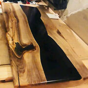 Black Wooden Epoxy Table Top Garden,resort, Decor Furniture Made To Order