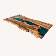 Green Wooden Epoxy Resin River Sofa Dining Table Top Home Decors Made To Order