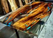 Transparent Blue Wooden Acacia Epoxy Dining Table Hallway Decors Made To Order