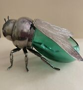 Teghini Firenze Blue /green Glass And Silver Plate Bumble Bee Honey Pot Ex Cond