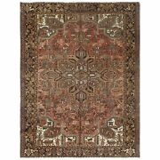 7and03910x10and0391 Red Farsian Heris Flower Design Hand Knotted Worn Wool Rug R61258