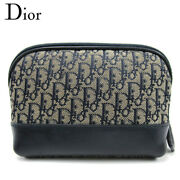 Secondhand Dior Porch Cosmetic Pouch Women 's Trotter Navy Canvas Razor T16686