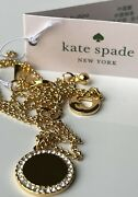 Kate Spade Spot The Spade Pave Charm Pendant Necklace Gold Tone Plated Nwt