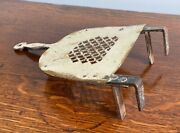 Antique Early 19th C Brass / Iron Footman Toasting Plate Chestnut Roaster