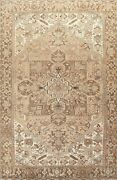 Vintage Muted Geometric Heriz Hand-knotted Area Rug Wool Oriental Carpet 8x11 Ft