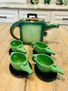 John Groth Studio Green Alligator Luggage Teapot And 4 Cups Saucers Vintage