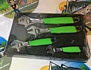New Snap On Green 4pc Flank Drive Adjustable Wrench Set 6,8,10,12 Inch Fadh704b