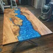 Epoxy Table Furniture Wooden Acacia Resortdining Blue Decorative Made To Order