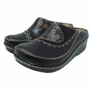 Land039artiste Burbank Womenand039s Black Hand Painted Leather Open Back Clog Sz 38 Us 8