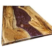 Oak Table Shiny Red Epoxy River Fully Acacia Handmade Dining Customize Table Top