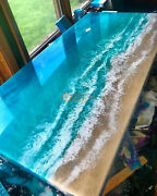 Custom Acacia Wooden Ocean Sea River Coffee Table With Blue Epoxy Olive Deco