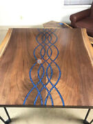 Resin Dining Table Wooden Blue Transparent Epoxy River Resin Antique Design Deco