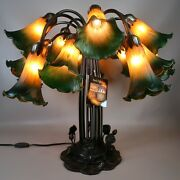 Dale Tulip Table Lamp Lily Pad Base 15 Arms Art Glass Shades Amber Green