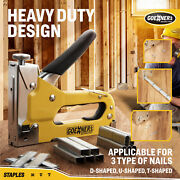 Heavy Duty Manual Staple Gun With 3000 Staples Nailer For Upholstery Wood 3 In 1