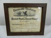 Antique 1929 Honorable Discharge Us Coast Guard Charles F. Payne Jr. Uscgc Modoc