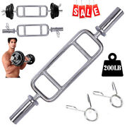 34in Olympic Barbell Triceps Bar Chrome Hammer Curl Weight Bar Home Gym Fitness