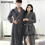 Lovers Thick Warm Winter Bathrobe Men Extra Long Male Dressing Gown Flannel Hot