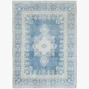 9and0396x13and039 Farsian Karman Wool Semi Antique Powder Blue Hand Knotted Rug R61406