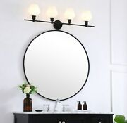 Black Wall Sconce Frosted White Glass Shade Dining Room Bathroom Fixture 4-light