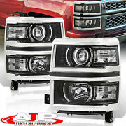 Black Clear Projector Head Lights Lamps Lh Rh For 2014-2015 Chevy Silverado 1500