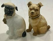2 Antique 19th C. French Porcelain Sitting Pug Figurines 6 1/2 Handpainted