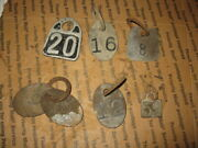 6 Antique Brass Cow Number Tags 1 Aluminum Tag