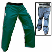 Green Safety Chaps Chainsaw Apron Style Reg. Length 35 - 37.5