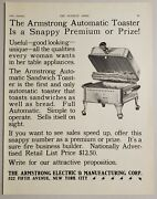 1931 Print Ad Armstrong Electric Automatic Toasters Premiums New York City