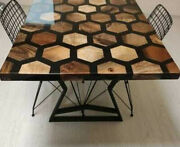 Epoxy Black Furniture Dining Honeycombs Wooden Acacia Decorative Made To Order