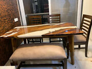 White Epoxy Dining/coffee Table Top Wooden Acacia Handmade Decors Made To Order