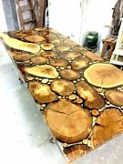 Handmade Epoxy Wood Resin Dining Table Top Garden Decor Furniture Made To Order