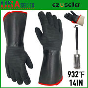 14 932℉extreme Heat Resistant Cooking Oven Gloves Grill Bbq Mitts+18 Brush Set