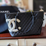 Authentic Cambon Quilted Cc Logo Tote Bag Black Lambskin