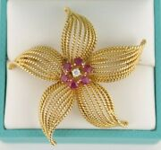 18k Yellow Gold Rare Vintage Authentic Aands Ruby And Diamond Flower Brooch 12.7g