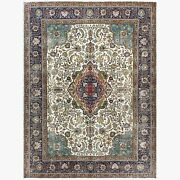 9and0399x12and0398 Wool Farsian Tebraz Vintage Clean Worn Ivory Hand Knotted Rug R61398