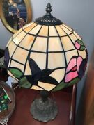 Style Stained Glass Hummingbird Table Lamp With Shade