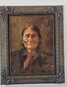 Early 1900's Original Oil Painting Of Geronimo, Unknown Artist 18 X 25 Framed