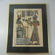 Old Egyptian Hand Painted Papyrus Framed With Certificate Video In Description