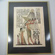 Old Egyptian Hand Painted Papyrus Framed Art Video In Description