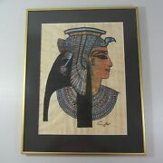 Old Egyptian Hand Painted Papyrus Art Framed Cleopatra Video In Description
