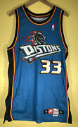 Nike Nba Authentics 97-98 Detroit Pistons Grant Hill 33 Game Jersey Size 44 +4
