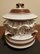 Handcrafted One-of-a-kind Ceramic Covered Pot, Brown With White Glazing