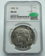 1925 Ngc And Cac Peace Silver Dollar